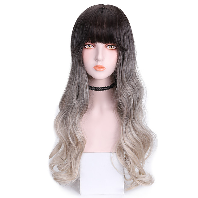 Synthetic Wig Body Wave With Bangs Wig Long Grey Synthetic Hair 24 inch Women's Cool Color Gradient Gray
