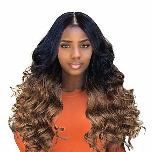 big curly wavy supreme free parting wigshigh temperature synthetic wigs for black women ombre color (brown)