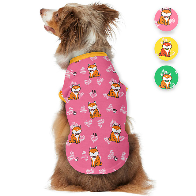 Dog Shirt / T-Shirt Animal Printed Animals Casual / Daily Dog Clothes Puppy Clothes Dog Outfits Breathable Yellow Pink Green Costume for Girl and Boy Dog Polyster S M L XL