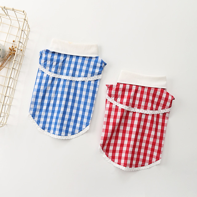 Dog Shirt / T-Shirt Plaid Basic Cute Casual / Daily Dog Clothes Puppy Clothes Dog Outfits Breathable Red Blue Costume for Girl and Boy Dog Cotton S M L XL XXL 3XL
