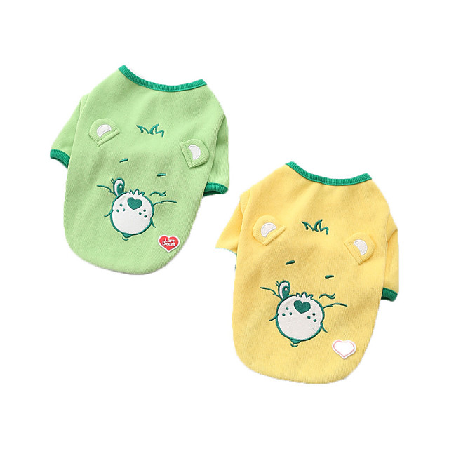 Dog Shirt / T-Shirt Bear Printed Fashion Cute Casual / Daily Winter Dog Clothes Puppy Clothes Dog Outfits Breathable Yellow Green Costume for Girl and Boy Dog Cotton S M L XL XXL 3XL