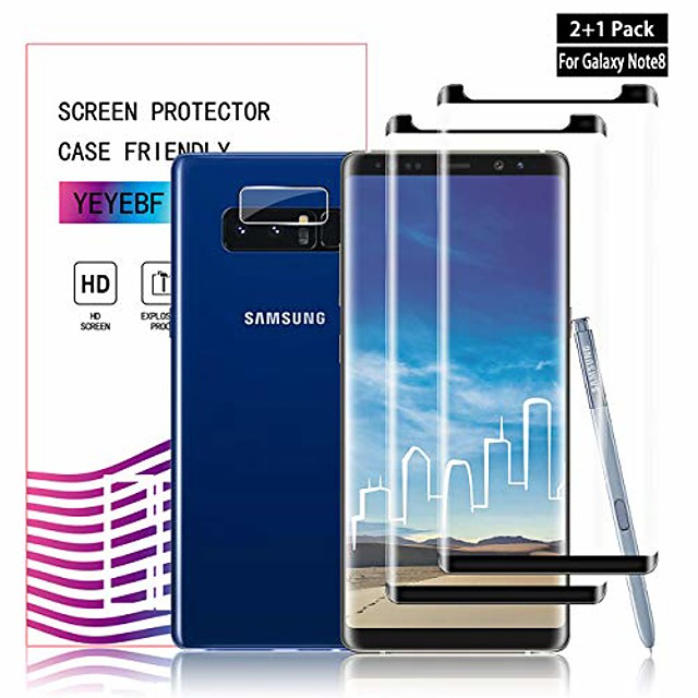 galaxy note 8 screen protector + camera lens protectors by ye, [2 + 1 pack] full coverage tempered glass screen protector [3d touch] [bubble-free] screen protector glass for samsung galaxy note 8