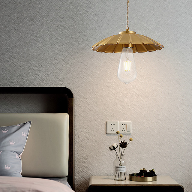 25cm LED Pendant Light Modern Nordic Gold Bedside Light Bowl Downlight Copper Bedroom Bar Dining Room 110-120V 220-240V