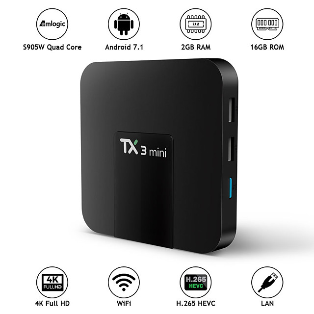 1gb + 8gb tx3 mini smart tv box android 7.1 nougat s905w čtyřjádrový 1g / 2g 8g / 16g kodi media player 4k hd tv streamer přijímač set-top box
