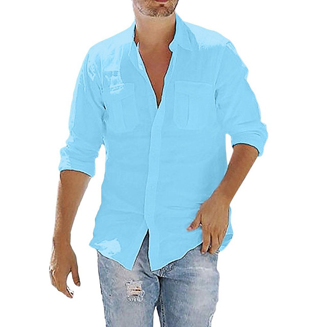 Men's Shirt Solid Color Pocket Button Long Sleeve Street Tops Cotton Linen Modern Style Casual Fashion Light Blue Navy# White / Fall / Spring / Summer / Beach