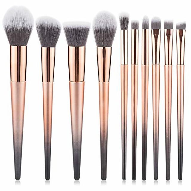 beauty 10pcs professional fantasy make up brush set foundation blending blush concealer eye shadow face liquid powder cream yyfus (color : gold, size : free)