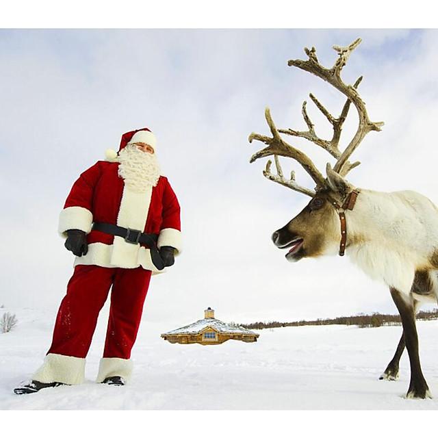 Santa Suits ซานตาคลอส เครื่องแต่งกาย ผู้ใหญ่ สำหรับผู้ชาย วันคริสต์มาส ปีใหม่ เสื้อผ้าที่สวมไปงานเต้นรำสวมหน้ากาก Festival / Holiday Terylene Elastane แดง ชุดเทศกาลคานาวาว Vintage