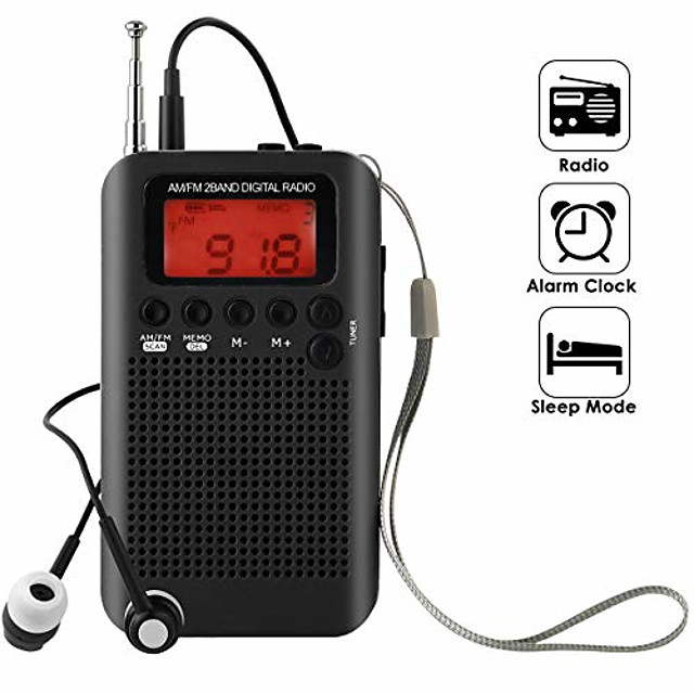 pocket radio, portable am fm radio alarm clock & sleep timer with clear loudspeaker, digital tuning stereo radio with 3.5mm headphone jack for walking jogging camping
