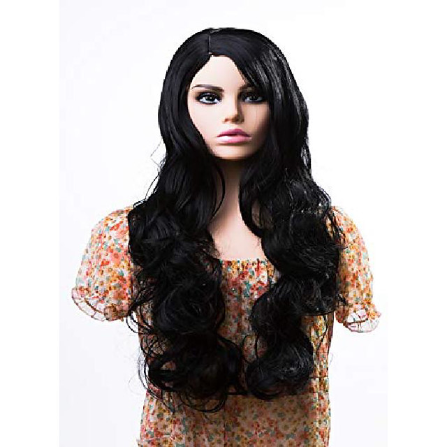25 long wigs for women fluffy curly wavy cosplay costume wig with bangs cap include (black)