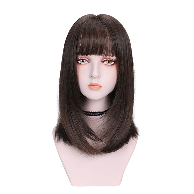 Synthetic Wig kinky Straight With Bangs Wig Medium Length Brown Black Synthetic Hair 14 inch Women's Soft Fluffy Black Brown
