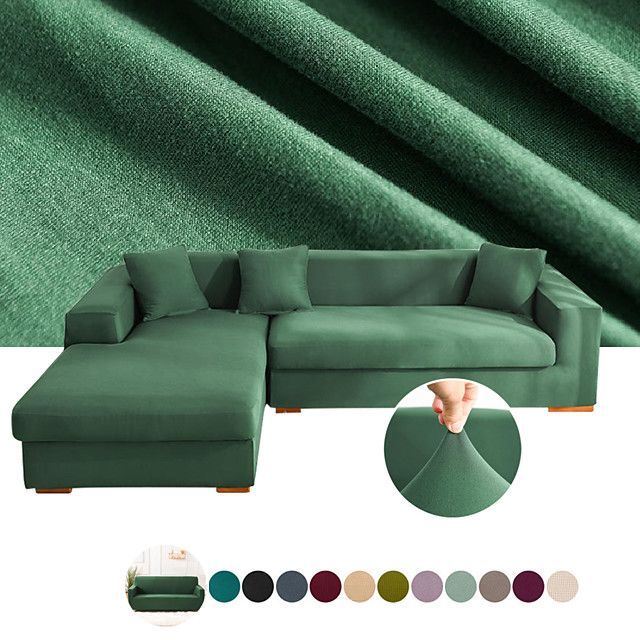 Sofa Cover Stretch Cheap Couch Cover 1 Piece Solid Color Slipcovers Gray Soft Durable Slipcovers Spandex Jacquard Fabric Washable Furniture Protector