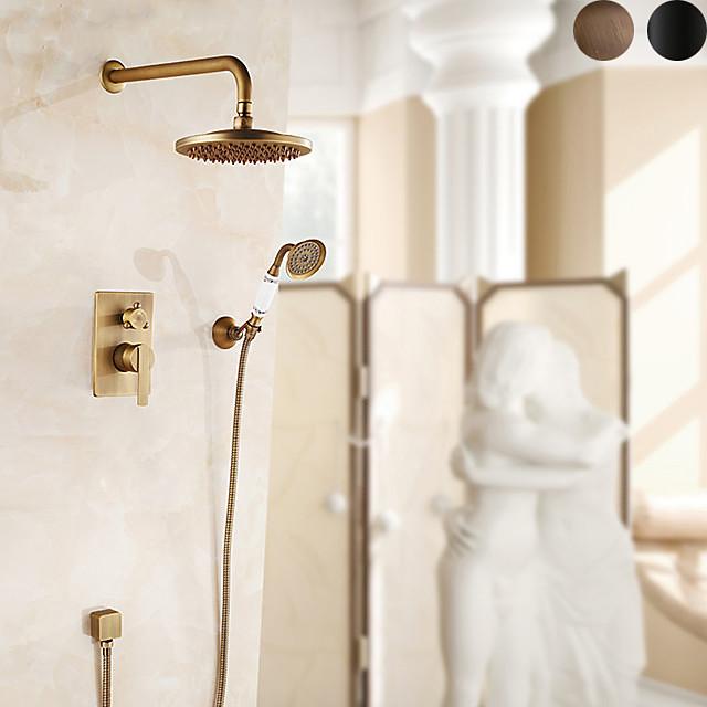 Retro Shower Faucet Antique Copper Wall Mounted Thermostatic Ceramic Valve Bath Shower Mixer Taps