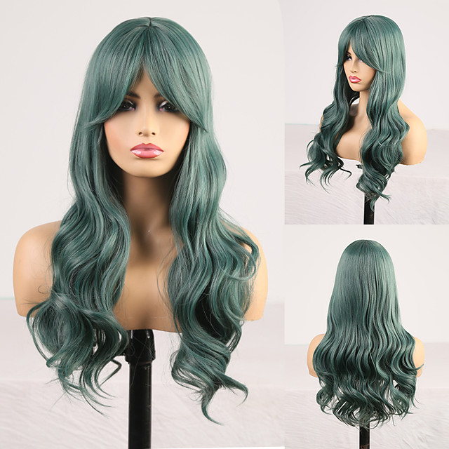 Cosplay Costume Wig Synthetic Wig Wavy Body Wave Middle Part Neat Bang Wig Long Green Synthetic Hair Women's Odor Free Fashionable Design Soft Green / Heat Resistant