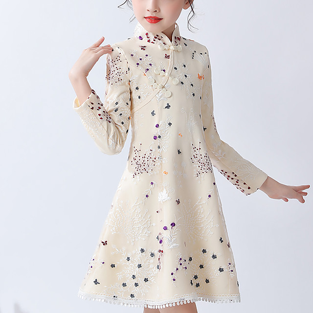 Kids Little Girls' Dress Floral Tribal Lace up Khaki Above Knee Long Sleeve Chinoiserie Cute Dresses Children's Day Regular Fit