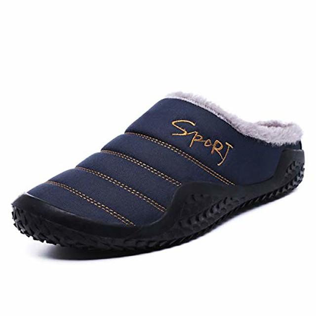 Men's Slippers Anti-slip House Winter Slippers Flush Warm Flip-Flops Daily Home Walking Shoes Cotton Warm Non-slipping Black Dark Blue Winter