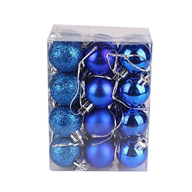 24ct 30mm christmas balls ornaments for xmas tree, shatterproof decorations tree balls for holiday wedding party decoration (blue)