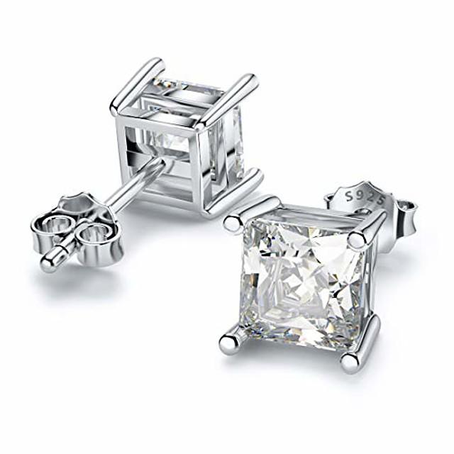 stud earrings for mom sterling silver hypoallergenic round cut cubic zirconia stud earrings 6mm