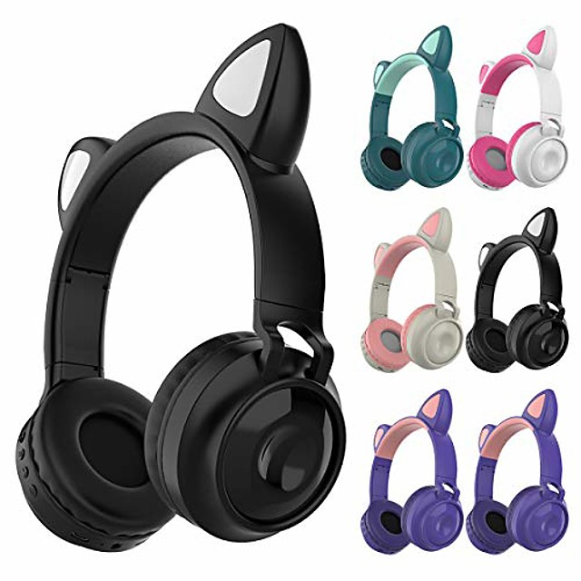 Wireless Headphone Portable Cute Cat Ear Headphone Foldable Handsfree Earphone Headset with Light and Built-in Microphone for Smartphones PC Laptop Birthday Gifts