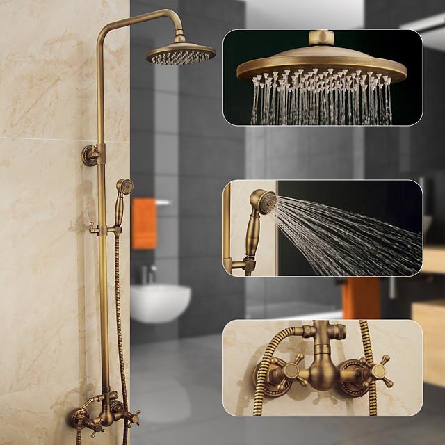 סט מערכות מקלחת, מתכוונן לגובה פליז עתיק, מקלחת יד ומרכב גוף ברז וידית ידית נשלף מפל מכיל מקלחת גשם, תרסיסים, ניקוז ומים חמים / קרים