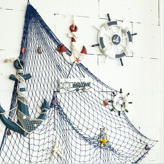 middelhavet dekorativt fiskenet tykt hamp reb baggrund vægdekoration hængende fiskenet