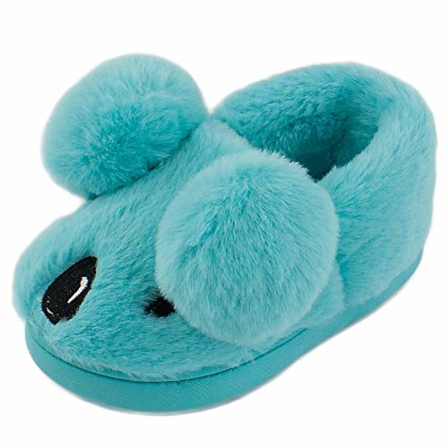 boy's girl's home slippers toddler little kid indoor house slip on shoes (blue,11-12)