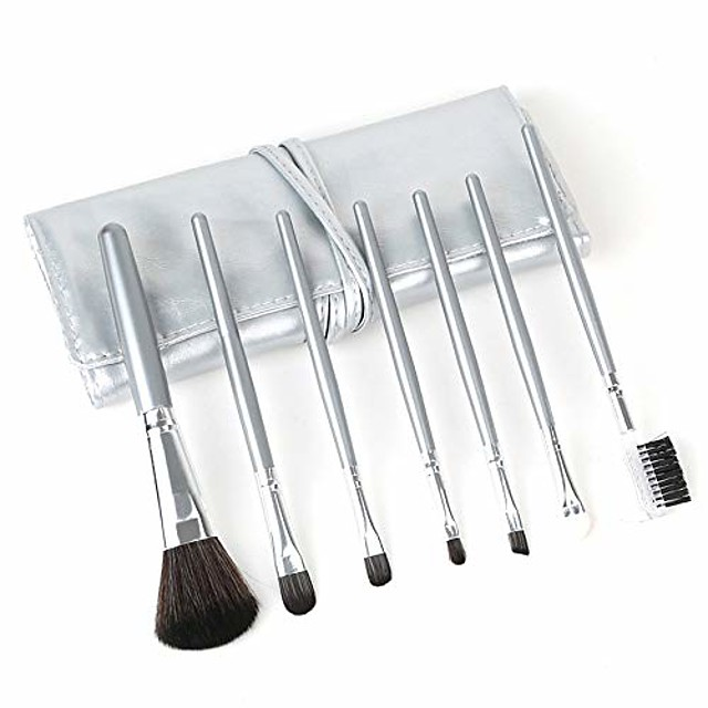 Beauty 7Pcs Set Cosmetic Brushes Makeup Brushes Tool Kit Super Soft Hair PU Leather Bag Make Up Brushes Set YYFUS (Color : Silver, Size : Free)