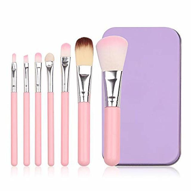 Beauty Makeup Brushes Makeup Brush Set Eye Shadow Brush Portable Iron Box Foundation Powder Eyebrow Brush- 7pcs Pink YYFUS (Color : Pink, Size : OneSize)