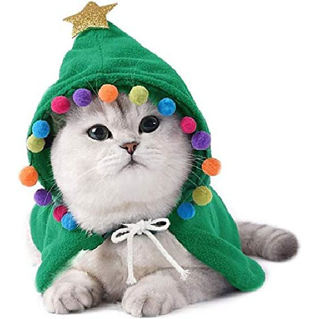 pet christmas costume puppy xmas cloak with star and pompoms cat santa cape with santa hat party cosplay dress for cats and small to medium sized dog