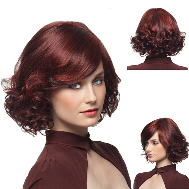 Ladies Oblique Bangs Wigs Wine Red Partial Short Curly Wigs Fluffy Pear Curly Hair Medium And Long Hair Headgear