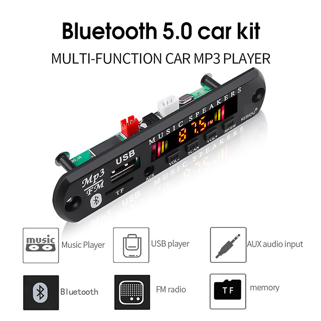 kebidu Bluetooth 5.0 Receiver Car Kit MP3 Player Decoder Board Color Screen FM Radio TF USB 3.5 Mm AUX Audio For Iphone XS