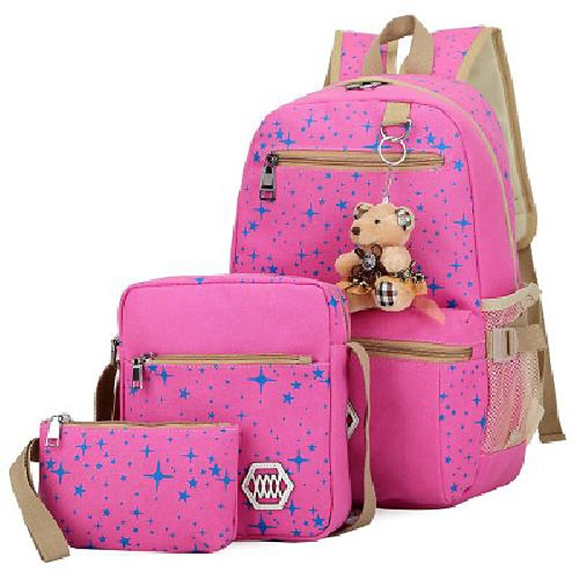 genius_baby girls' canvas backpack set 3 pieces patterned bookbag laptop school backpack (pink-1)