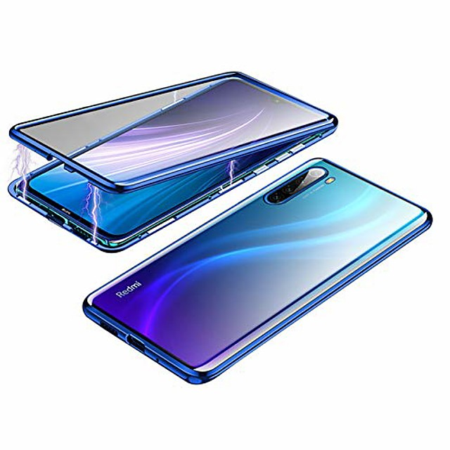 metal magnetic aluminum alloy frame tempered glass phone case for xiaomi redmi note 8 [6.3 inch] (redmi note 8, blue)