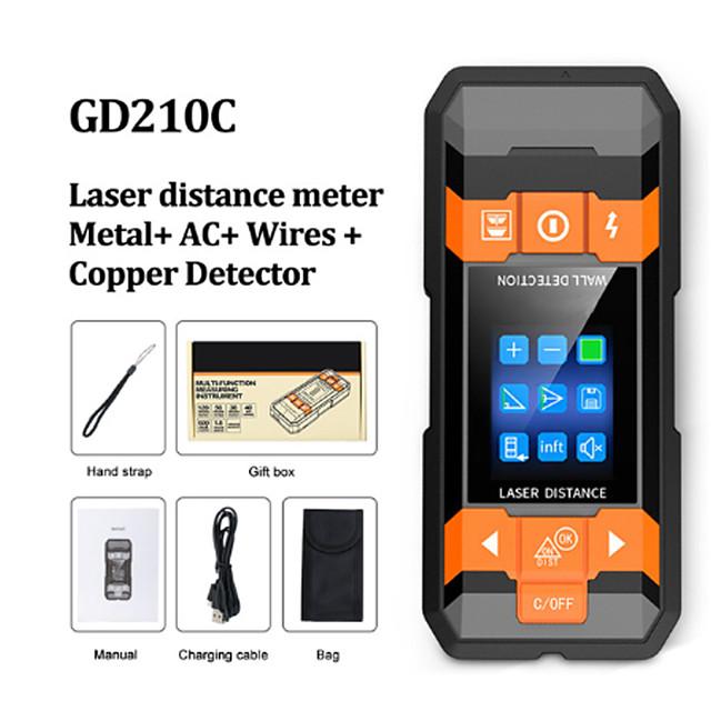GD210C Metal Detector Wiring Detector Laser Distance Meter Rangefinder Wall Scanner Wire Cable Metal Stud Wood Finder Digital Tape