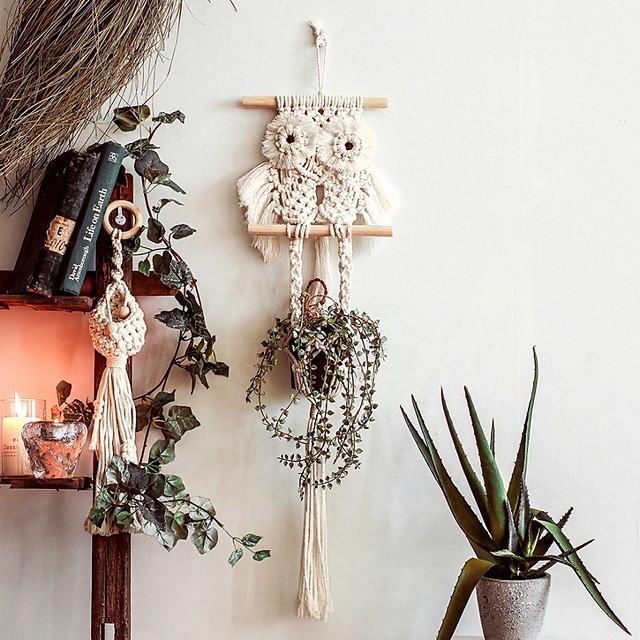 Hand Woven Macrame Wall Hanging Ornament Bohemian Boho Art Decor Home Bedroom Living Room Decoration Nordic Handmade Tassel Cotton Owl
