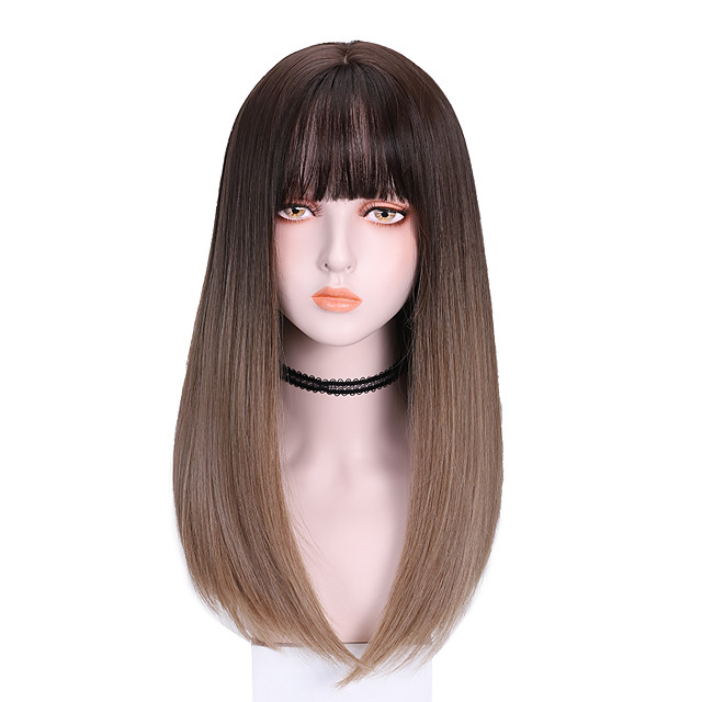 Synthetic Wig Straight With Bangs Wig Medium Length Brown Purple Synthetic Hair 16 inch Women's Cool Color Gradient Comfy Brown Purple