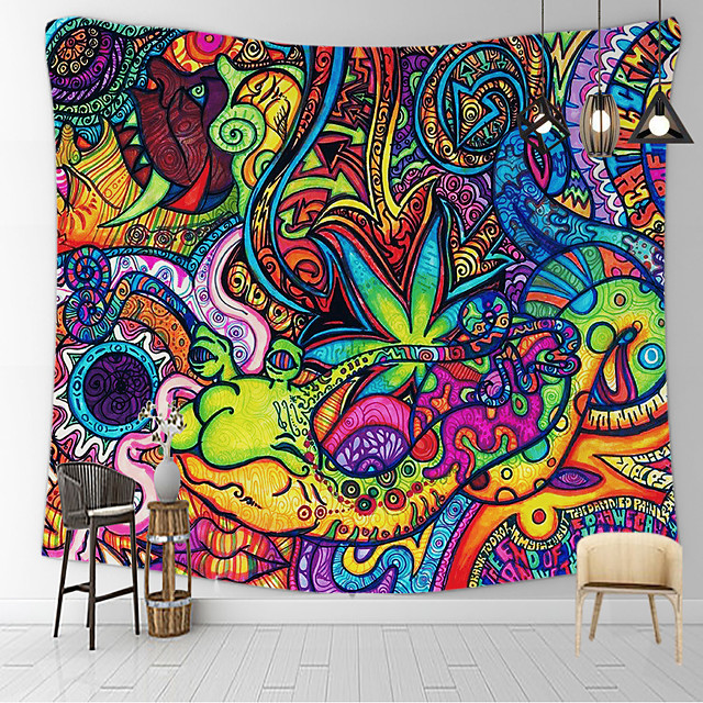 Psychedelic Abstract Wall Tapestry Art Decor Blanket Curtain Hanging Home Bedroom Living Room Decoration Polyester Mushroom Horrible Monster