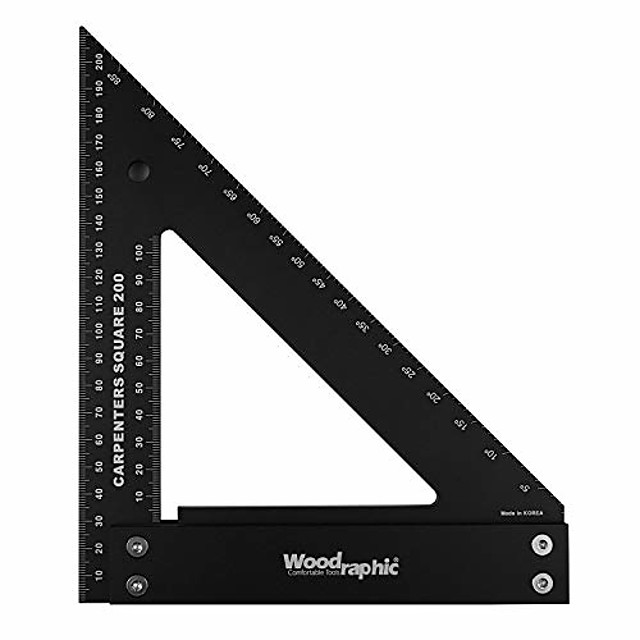 professional carpenter square layout tools framing square woodworking tools rafter angle square - aluminium/angle scale/easy-read - 200 mm metric