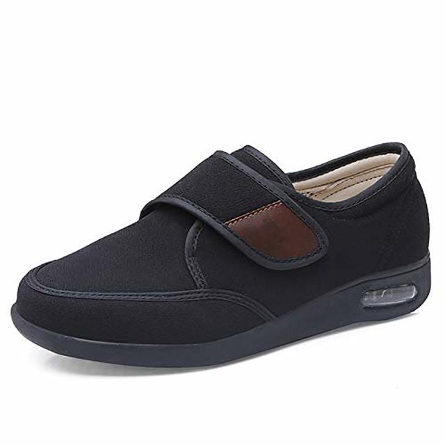 men's air cushion adjustable walking shoes, winter extra wide comfy elderly warm outdoor sneakers for swollen feet, elderly, diabetic, oedema