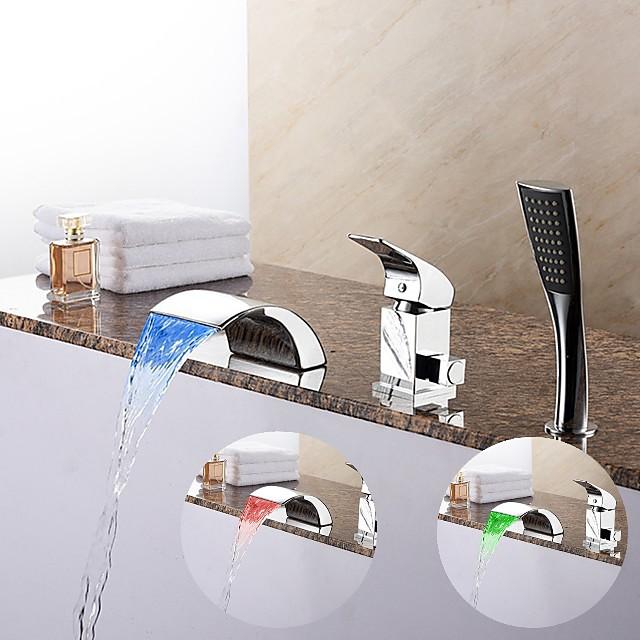 حنفية حوض الاستحمام - معاصر الكروم الحوض الروماني صمام سيراميكي Bath Shower Mixer Taps / النحاس / التعامل مع واحد ثلاثة ثقوب