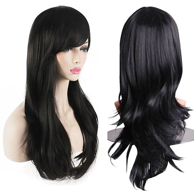 Womens Heat Resistant 28-Inch 70cm Long Curly Hair Wig with Wig Cap Black