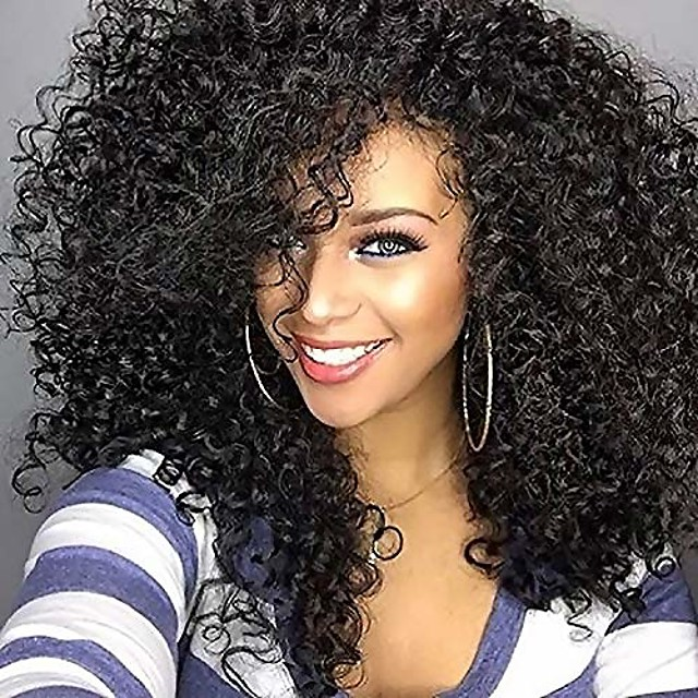 short kinky curly afro wig for black women - fluffy shoulder length heat resistant synthetic full wig with bangs - 14 inches black
