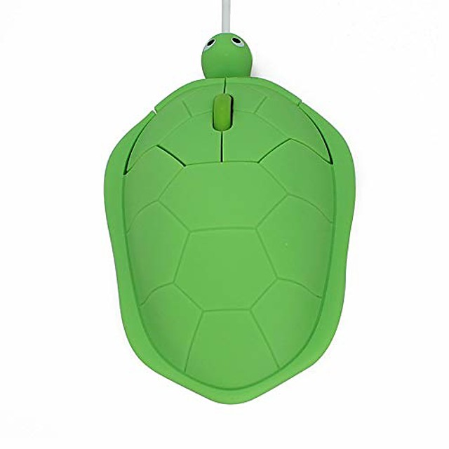 usb wired mouse creative 3d cute animal turtle shaped optical mice corded kids mini mouse 1200dpi for pc laptop computer (green)