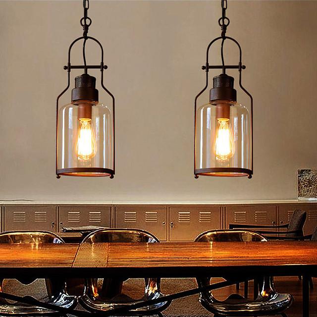 15.5cm LED Pendant Light Glass Vintage Style Geometric Single Design Metal Classic Painted Finishes 110-120V 220-240V