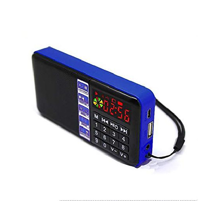 sd-111 portable fm radio time display clock support usb disk/micro sd/tf card mp3 player digital speakers (blue)