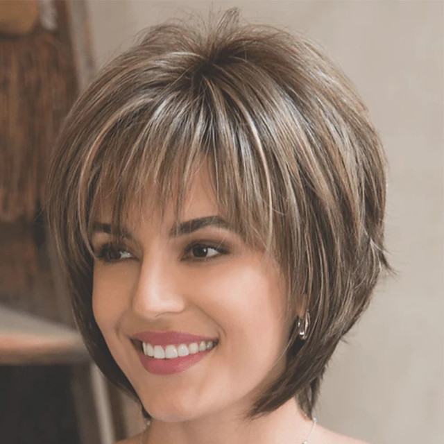 Synthetic Wig kinky Straight Pixie Cut Wig Short Hair Women's Fashionable Design Exquisite Comfy Blonde /Brown