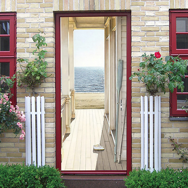 Creative Self-adhesive Door Stickers Hot Sale Seaside Wooden House Living Room Bedroom DIY Decorative Home Waterproof Wall Stickers