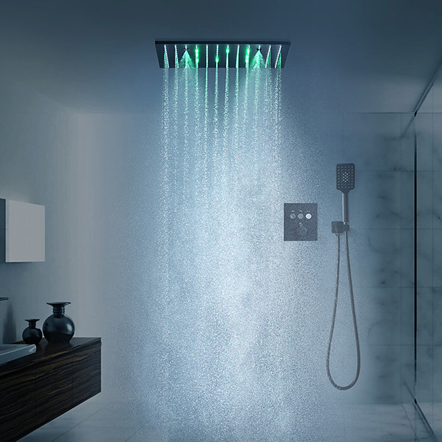 スプレーレインフォールシャワーヘッド天井に取り付けられたLEDシャワーヘッドシステムを備えた16インチの黒いシャワー水栓セット(シャワー水栓ラフインバルブ本体とトリムを含む)