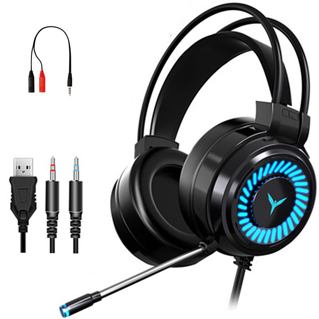 Gaming Headsets Surround Sound Stereo Wired Earphones USB Microphone Colorful Light PC Laptop Game Headset -with 1 x 3.5mm Female to 2 Male Cable