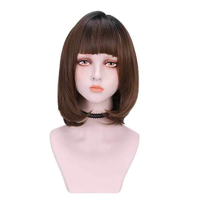 Synthetic Wig Curly With Bangs Wig Medium Length Light Brown Dark Brown Brown Black Synthetic Hair 14 inch Women's Comfy Fluffy Black Brown