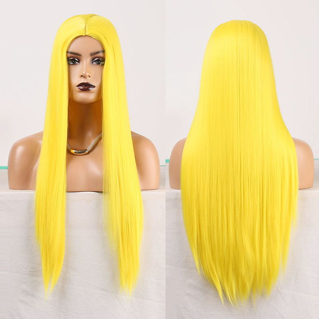 Cosplay Costume Wig Synthetic Wig Straight Natural Straight Middle Part Wig Long Yellow Synthetic Hair Women's Odor Free Fashionable Design Soft Yellow / Heat Resistant